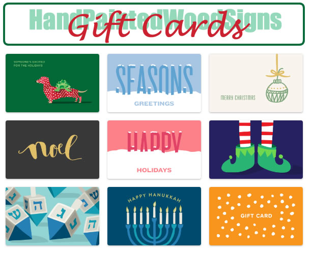 hand painted signs gift cards