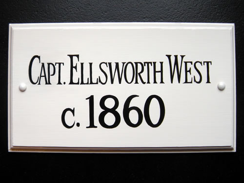 double sided hanging historic house sign