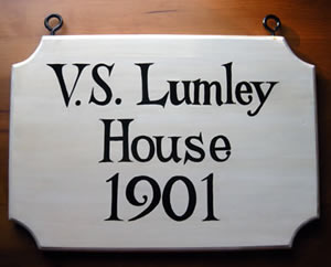 "16"" two sided painted historic house hanging sign"