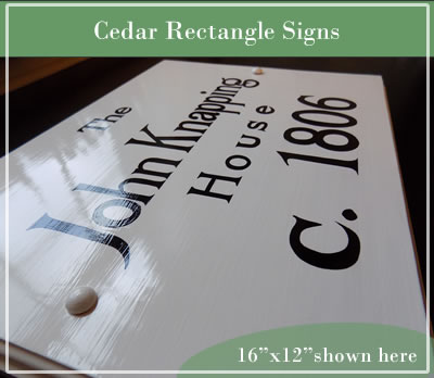 hand painted cedar rectangle historic house sign