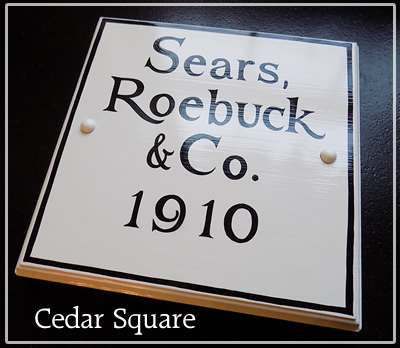 hand painted cedar square historic house sign